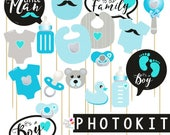 It's a BOY Photo booth props / babyshower photoprops, printable props, babyshower party, photoboth, baby shower party, instant download