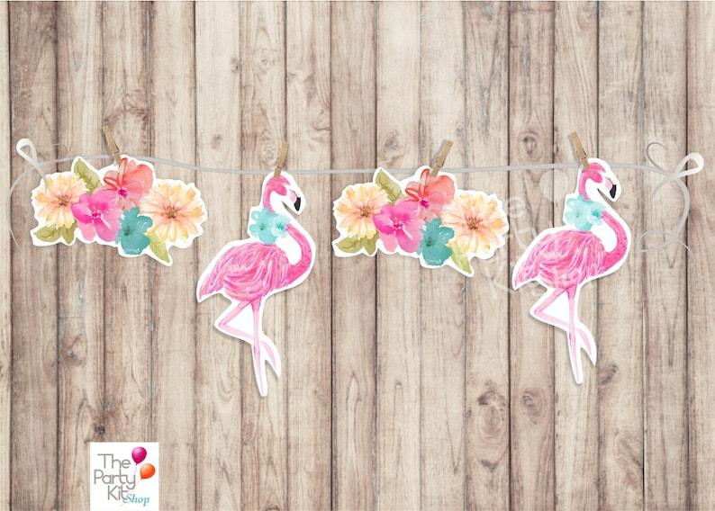 Flamingo & Flowers printable banner/INSTANT DOWNLOAD image 1