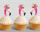 Flamingo printable Cupcake toppers/ INSTANT DOWNLOAD