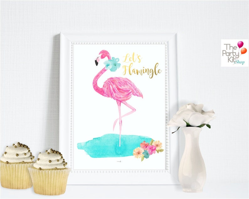 Let's Flamingle flamingo party print Deco sign / party image 1