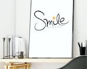 SMILE always Digital Print, wall art / Instant download