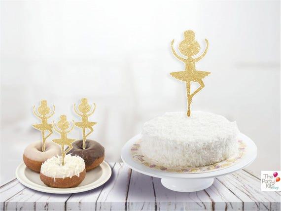 photograph regarding Ballerina Silhouette Printable identified as Gold Ballerina silhouette Cake Topper/ballerina printable
