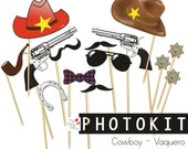 COWBOY PARTY Photo booth props / photocall, photobooth, party props, cowboy photoprops, cowboy props, western party, instant download