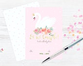 Swan & flowers Party Invitation / PRINTABLE