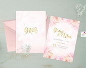 Rose printable party invitation/ sweet sixteen, Quinceañera party invite