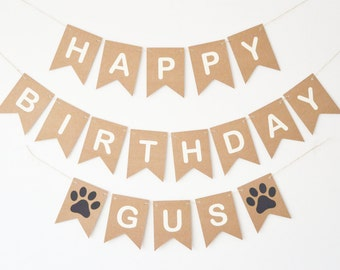 Happy Birthday Dog Personalised Personalized Banner Bunting Paw Print Party Decor Decorations Supplies