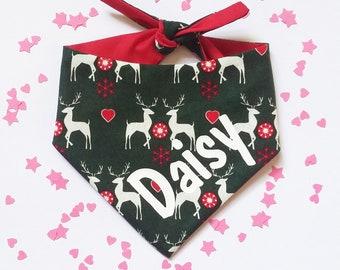Personalised Dog Christmas Bandana Personalized Xmas Cat Neckerchief Green Red Reindeer