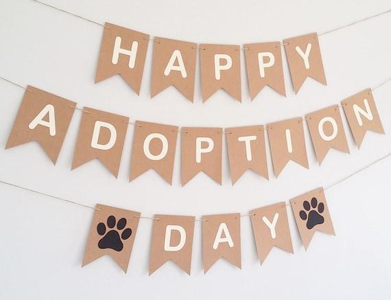 Happy Adoption Day Bunting Banner Sign Dog Cat Rescue Birthday Etsy