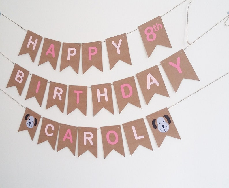 Dog Happy Birthday Banner Colorful Puppy Sign Dog Bunting Decoration Pet Birthday Party Favors Supplies Baby Shower Party Decorations