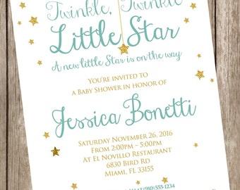 Twinkle Little Star Baby Shower Printable Invitation