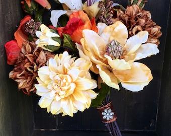 SILK  BOUQUET - Rustic Fall Wedding Bouquet, Bridal Bouquet, Wedding Flowers, Silk, Keepsake Bouquet, Bridal Bouquet, Jeweled Handle Bouquet
