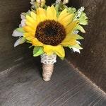 Silk Sunflower Boutonniere, Groom Boutonniere, Boutonniere, Wedding Boutonniere, Groom, Groomsmen, Buttonhole