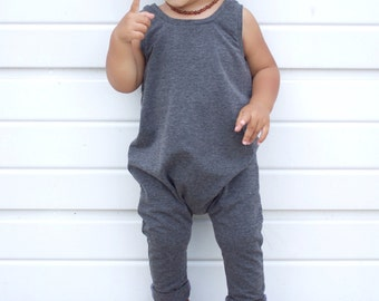 Charcoal gray romper - Baby romper - Toddler romper - Grey solid romper - Hipster baby clothes - Boy romper - Girl romper - Fall boy outfit