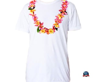 dcb175987 Plumeria Lei 100% combed cotton T-shirt derived from a design by artist  Kathy Baumann.