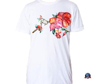 Chinese Hibiscus 100% combed cotton T-shirt derived from an original watercolor painting by Kathy Baumann