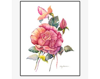 """Red Rose giclee print of an original watercolor painting on 100% cotton rag, soft texture, natural white, 20"""" x 24"""" matted and backed"""