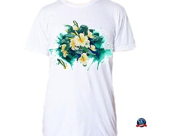 Green Plumeria Splash 100% combed cotton T-shirt derived from an original watercolor painting by Kathy Baumann