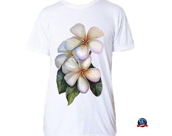 Plumeria 100% combed cotton T-shirt derived from an original watercolor painting by Kathy Baumann