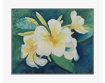 "Green Plumeria  giclee print of an original watercolor painting on 100% cotton rag, natural white, 24"" x 20"" matted and backed"
