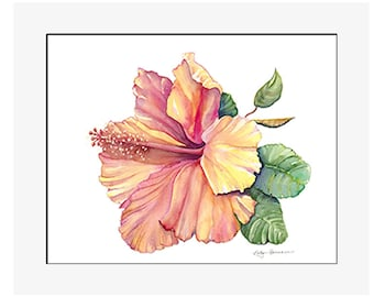 "Yellow Hibiscus giclee print of an original watercolor on 100% cotton rag, natural white, 24"" x 20"" matted and backed"