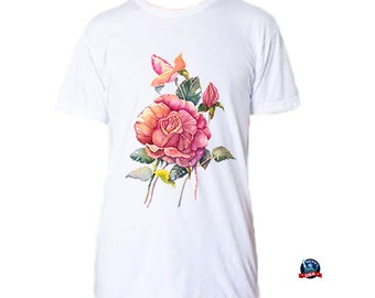 Red Rose 100% combed cotton T-shirt derived from an original watercolor painting by Kathy Baumann