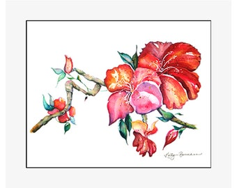 "Chinese Hibiscus original watercolor painting on 300 lb cold press paper, 24"" x 20"" matted and backed, artist Kathy Baumann"