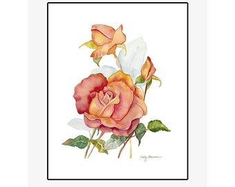 "Red and Yellow Rose giclee print of an original watercolor painting on 100% cotton rag, natural white, 20"" x 24"" matted and backed"