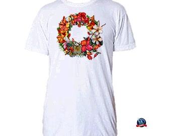 Floral Wreath 100% combed cotton T-shirt derived from a design by artist Kathy Baumann