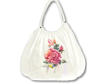 Maui Red Rose Satchel, cotton canvas, derived from an original watercolor painting by Kathy Baumann