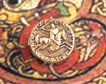 Templar - Bronze handmade ring - Knight and his mount - order - medieval