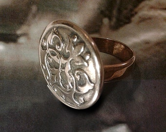 Chivalry-handmade bronze ring-arms-medieval