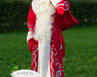 06a695c4b Authentic Costume Ded Moroz, Russian Santa Claus Father Frost Costume,  Christmas suit, Father frost wig, beard, bag, belt, gloves, coat, hat