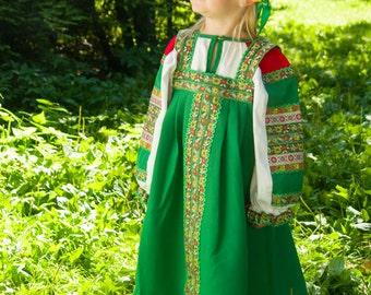 Russian traditional dress Dunyasha for girls, Historical costume, Slavic dress, Sarafan, Russian gitl costume, Slavic dress, Ethnic dress