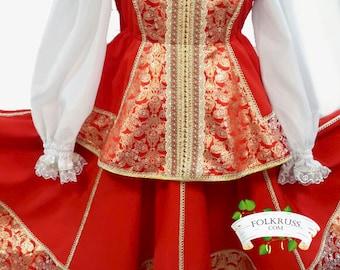 "Russian Dance costume ""Boyarinya"", Scenic costume, Red brocade costume, Dance russian dress"