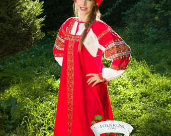 Russian traditional woman costume Dunyasha, Cotton russian dress, Sarafan, Slavic dress, Histotical costume, Ethnic dress, Russian clothing