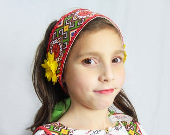 Russian traditional cotton headdress Povyazka with flowers, Girl headdress, Woman headdress