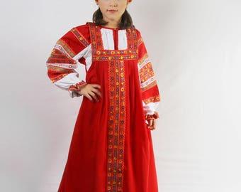 SALE -20%, ready to ship! Russian traditional dress Dunyasha for girls, Historical costume, Slavic dress, Sarafan, Russian gitl costume