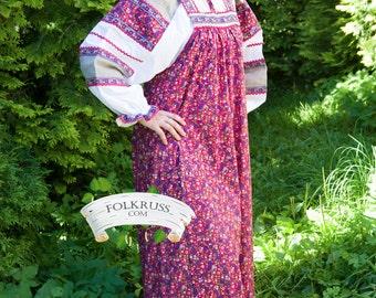 Russian traditional woman dress Mashenka, Sarafan, Russian national costume, Ethnic dress, Historical costume, Slavic dress, Flowered dress