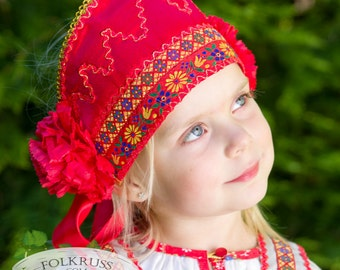 Russian traditional hat Kichka, russian headdress, flowered hat, kokoshnik, russian headpiece