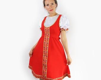"Traditional russian dress for woman ""Elena"", Woman dance dress, Sarafan, Folk scenic dress, Knee-lenght woman dress"