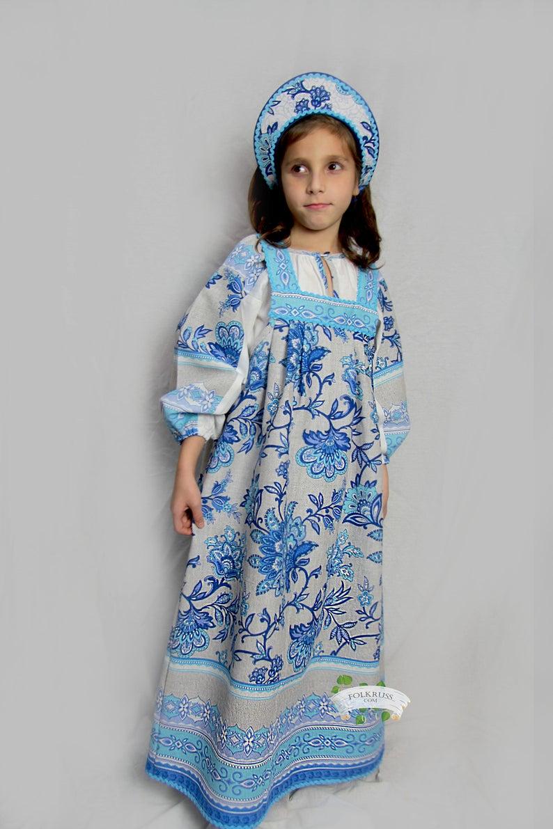 floral dress blue dress flowered dress Girl russian dress Russian souvenir sarafan Russian traditional costume Nastenka Folk dress