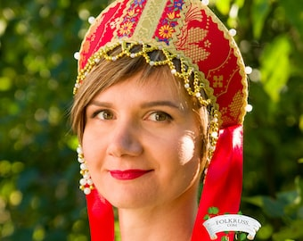 Russian traditional brocade kokoshnik, Russian crown, Russian beading headwear, Russian traditional hat