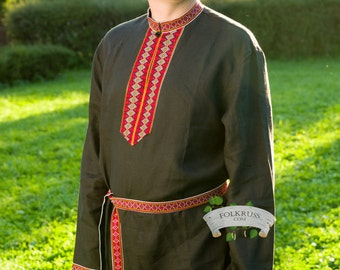 Russian traditional linen shirt Elisey, Kosovorotka shirt, Men shirt, Slavic shirt, Cossack shirt