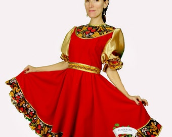 Russian Dance Dress Khokhloma, Traditional Russian dress, Scenic Folk Dress