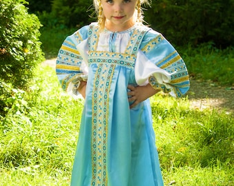 Russian traditional silk dress Vasilisa, Sarafan, Scenic russian costume, Girl russian dress, Historical costume, Rich russian dress