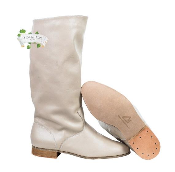 Danza Hight stivali uomo, stivali cosacco, stivali di pelle, stivali uomo russo, stivali neri, stivali rossi, bianco stivali