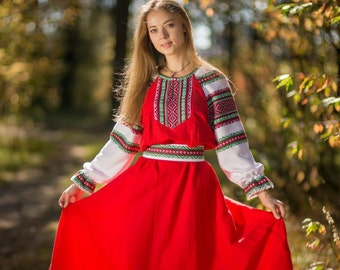 "Traditional russian long sleeve linen sarafan ""Daria"" / Casual russian linen red dress / Summer dress"