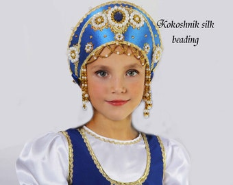 Russian traditional hat kokoshnik Vasilisa, Russian crown, Russian beading headwear, Russian traditional hat