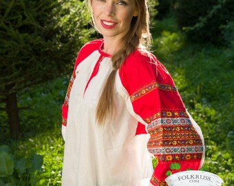 Russian traditional slavic shirt for woman, Cotton russian shirt, Russian woman blouse