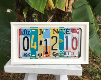 Custom date sign, anniversary or wedding license plate art, special dates, birthday, personalized gift, gift for him, valentines day gift